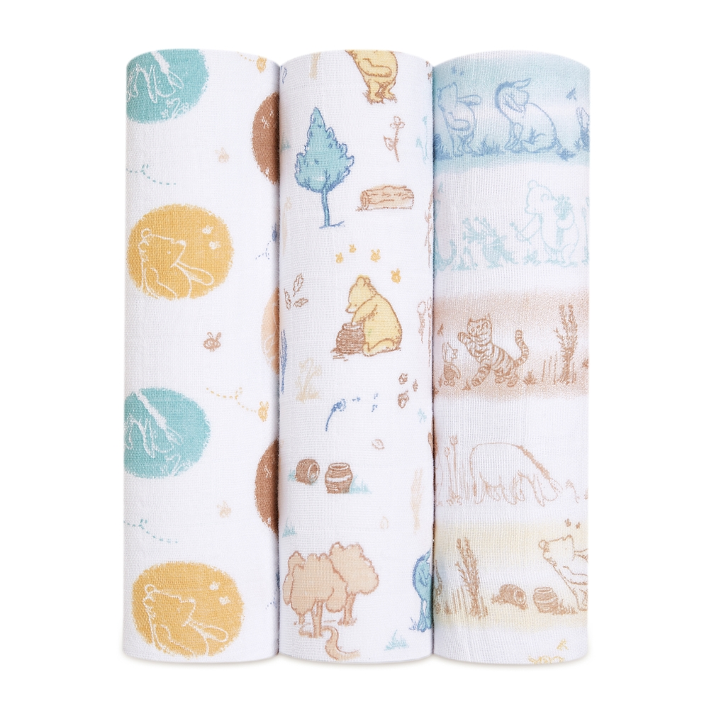 【aden + anais】モスリンスワドル 3本入り winnie in the woods  ASWC30006DIJ
