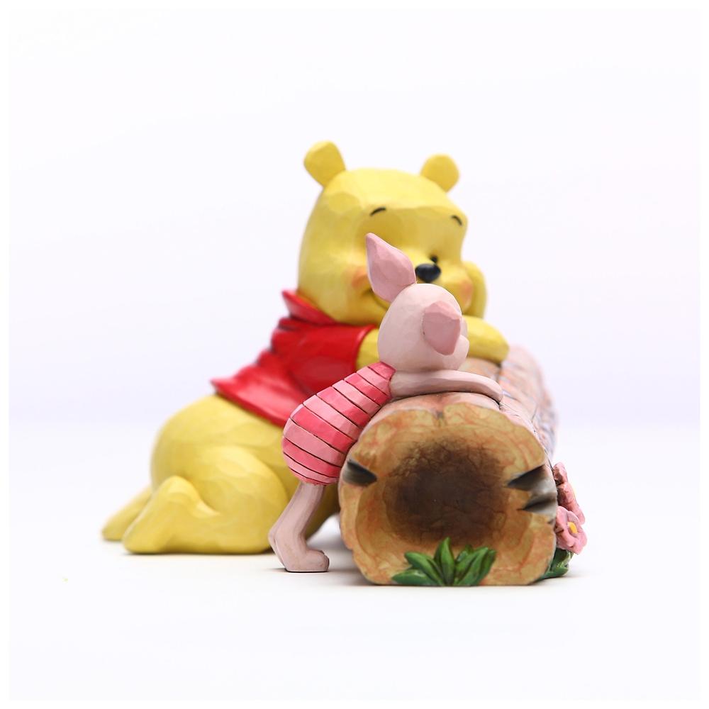 【enesco】プーさん&ピグレット フィギュア 丸太 DISNEY TRADITIONS