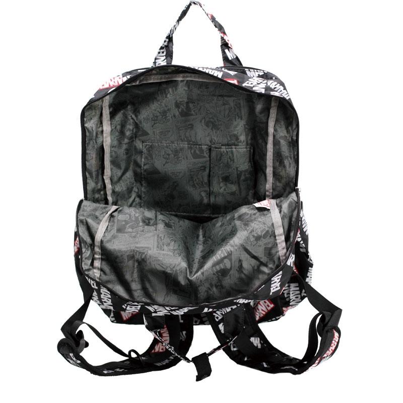 【HAPI+TAS】マーベル リュックサック・バックパック 折りたたみ式 ブラック ロゴ