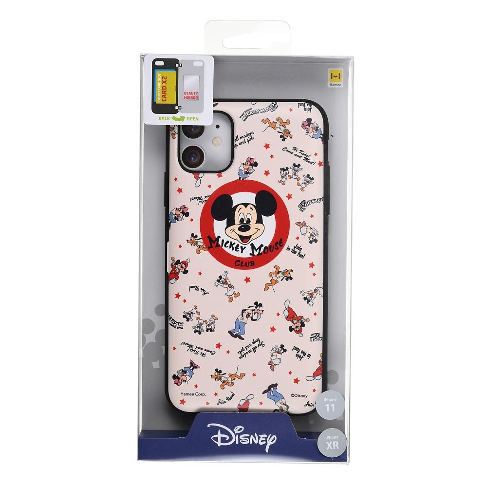 【Latootoo】ミッキー iPhone 11/XR用スマホケース・カバー カード収納型 ミラー付き クラブ