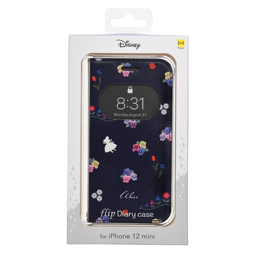 アリス iPhone 12 mini用スマホケース・カバー フリップ窓付きダイアリーケース ガールズフラワー