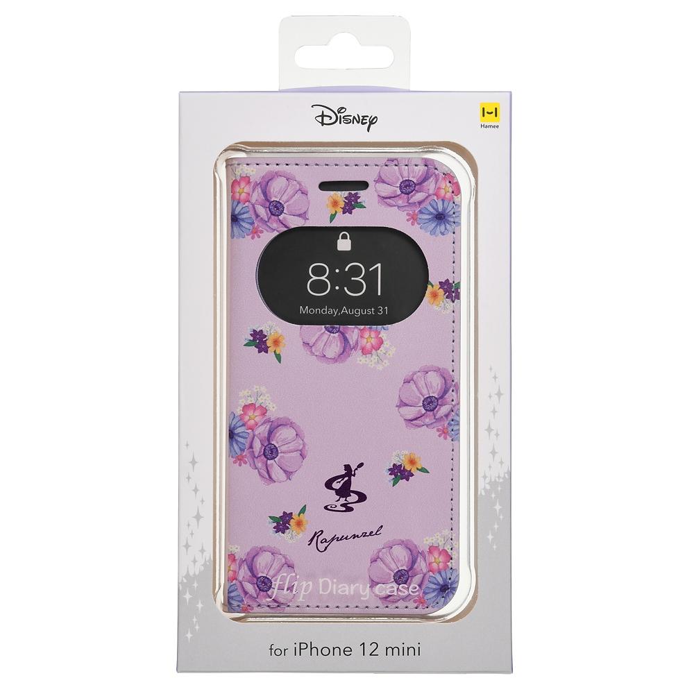 ラプンツェル iPhone 12 mini用スマホケース・カバー フリップ窓付きダイアリーケース ガールズフラワー