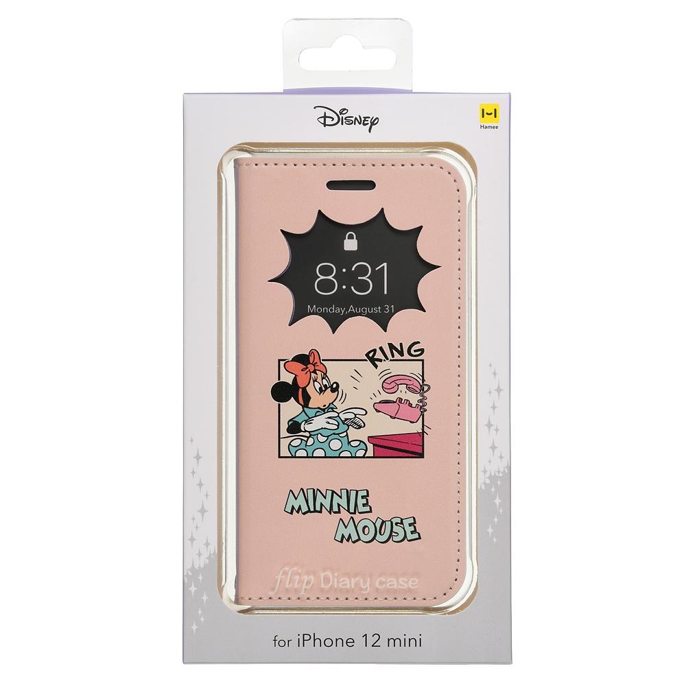 ミッキー&ミニー iPhone 12 mini用スマホケース・カバー フリップ窓付きダイアリーケース 電話