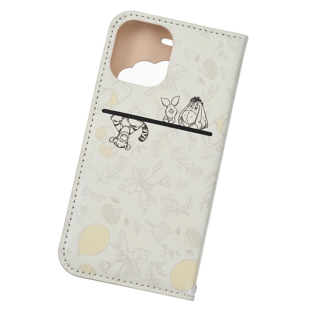 プーさん&フレンズ iPhone 12 mini用スマホケース・カバー フリップ窓付きダイアリーケース ボタニカル