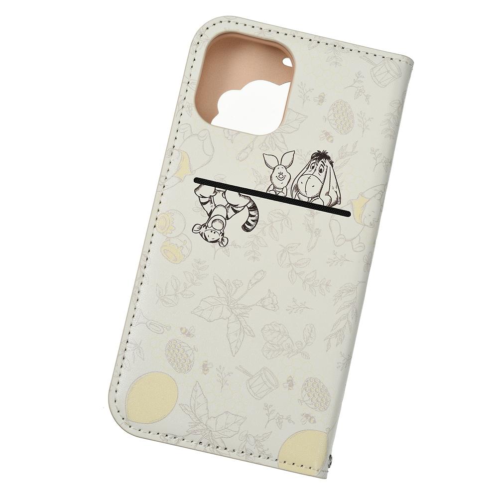 プーさん&フレンズ iPhone 12/12 Pro用スマホケース・カバー フリップ窓付きダイアリーケース ボタニカル