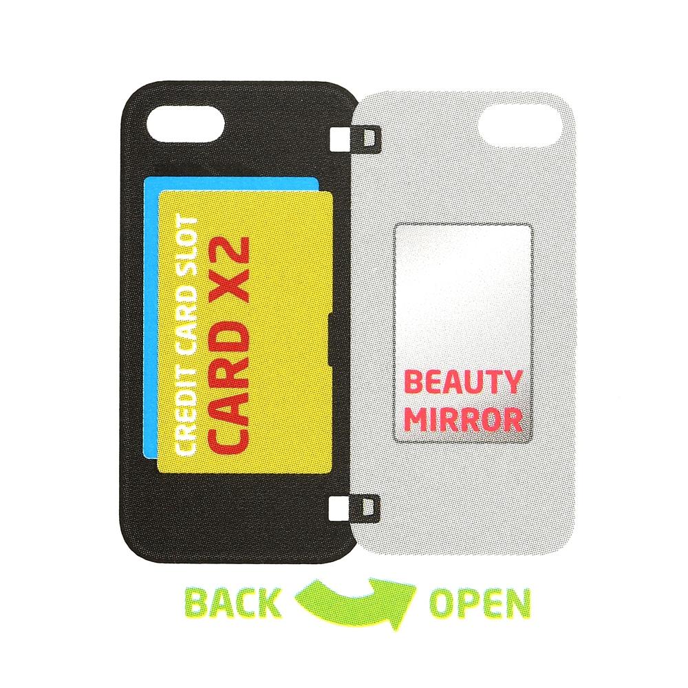 【Latootoo】レディ iPhone 7/8/SE(第2世代)用スマホケース・カバー カード収納型 ミラー付き