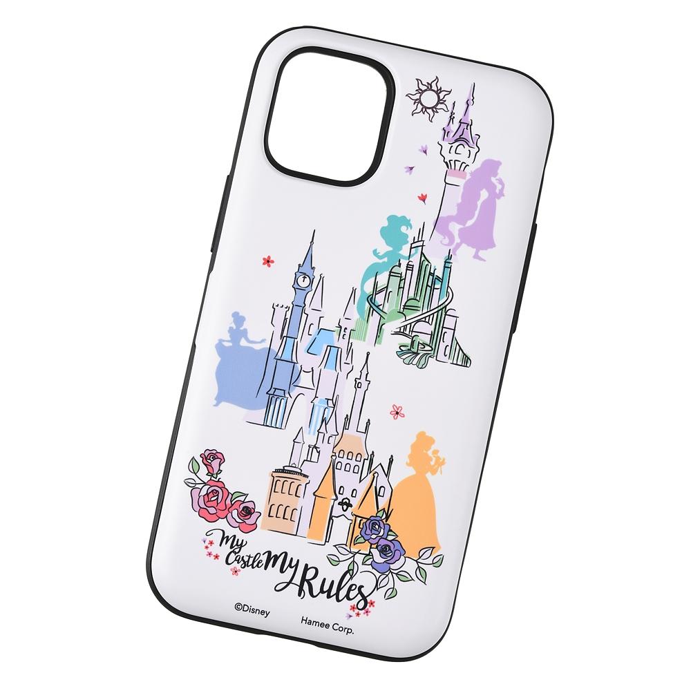 【Latootoo】ディズニープリンセス iPhone 12 mini用スマホケース・カバー カード収納型 ミラー付き