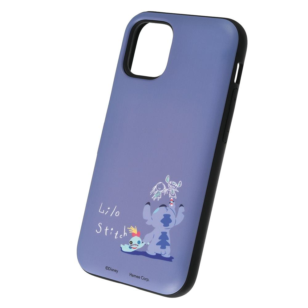 【Latootoo】スティッチ iPhone 12 mini用スマホケース・カバー カード収納型 ミラー付き
