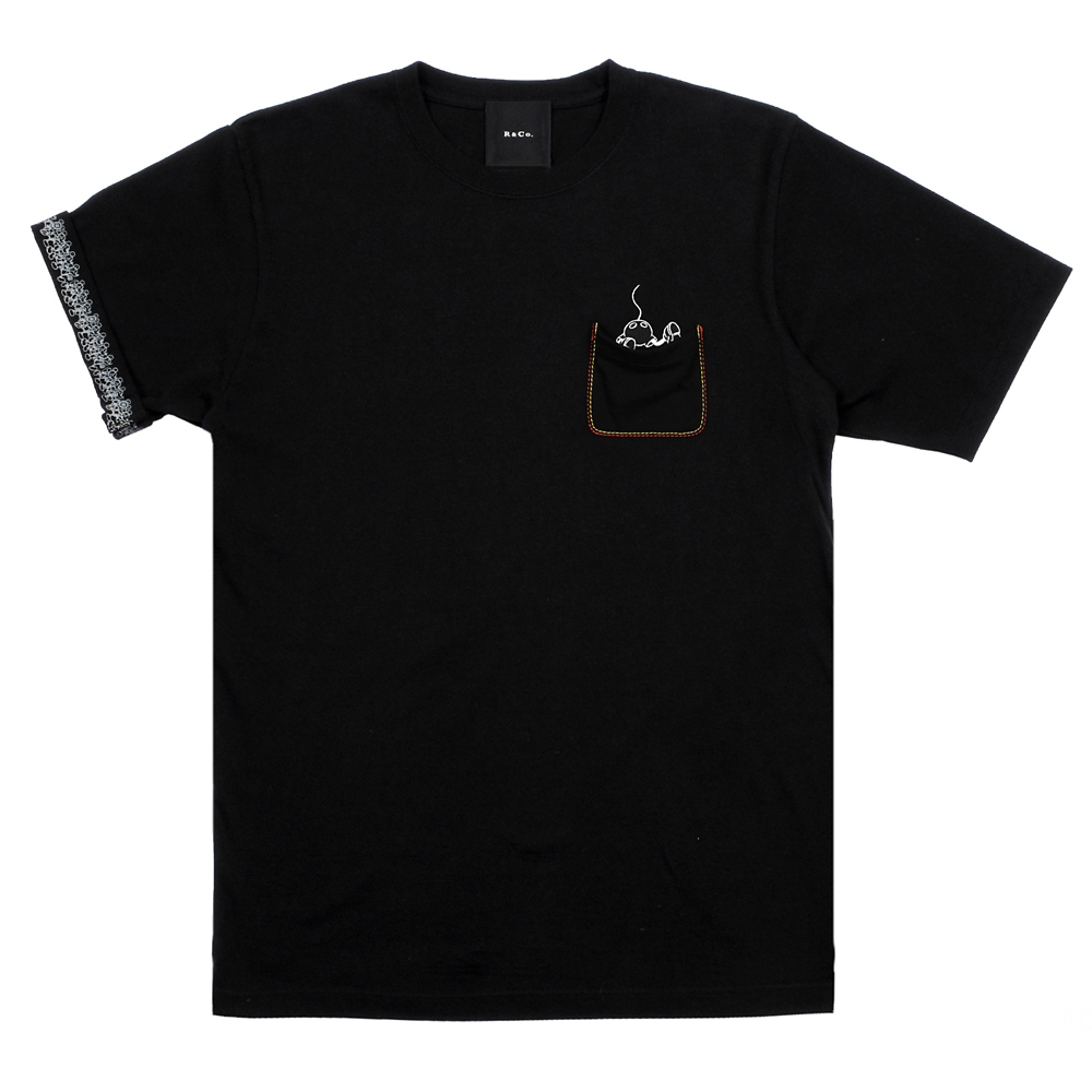 R&Co. Mickey Mouse pocket T shirt  BLACK/COLOR  XL