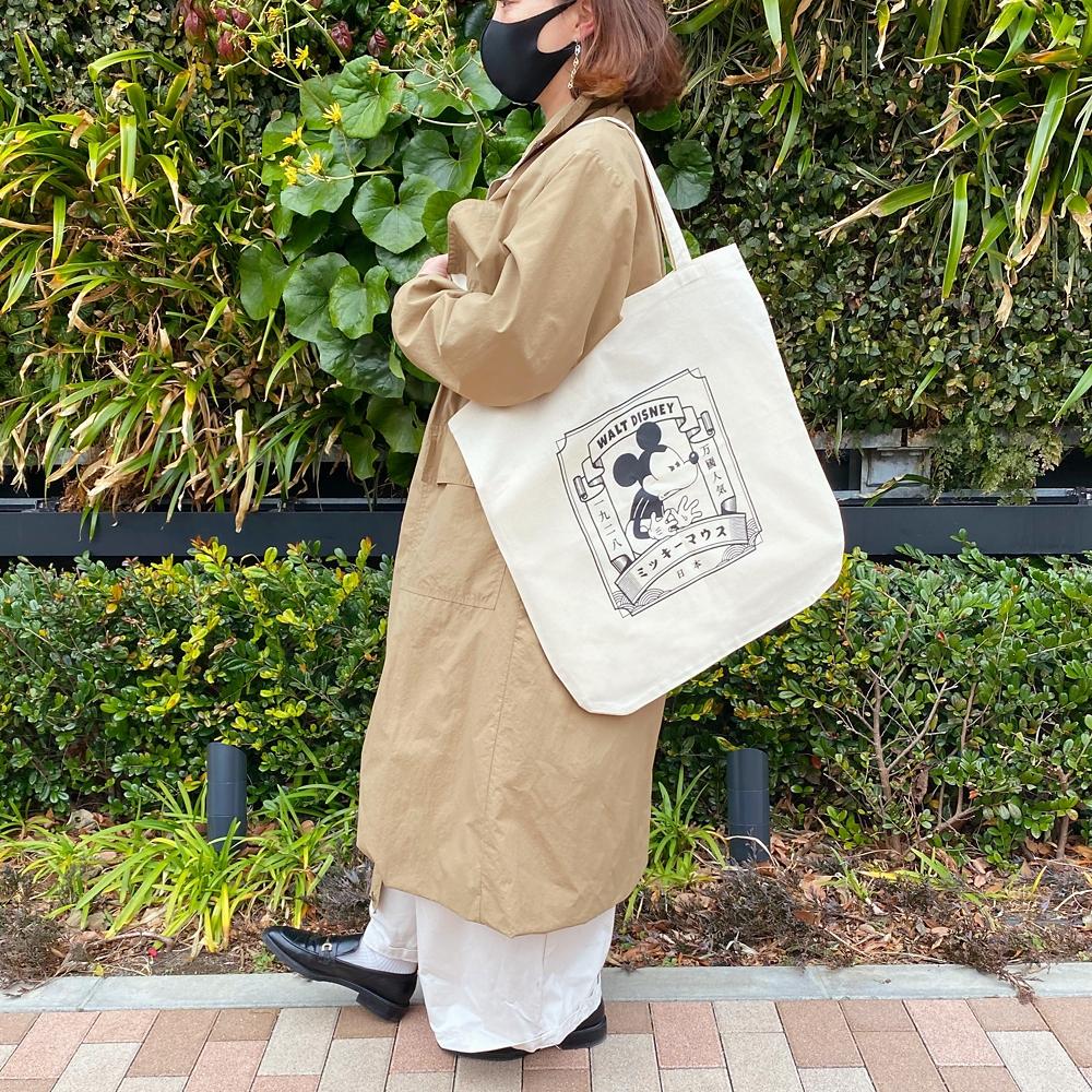 【ミッキーネクストジャパンマーケット】ビッグトートバッグ(スタンプ)