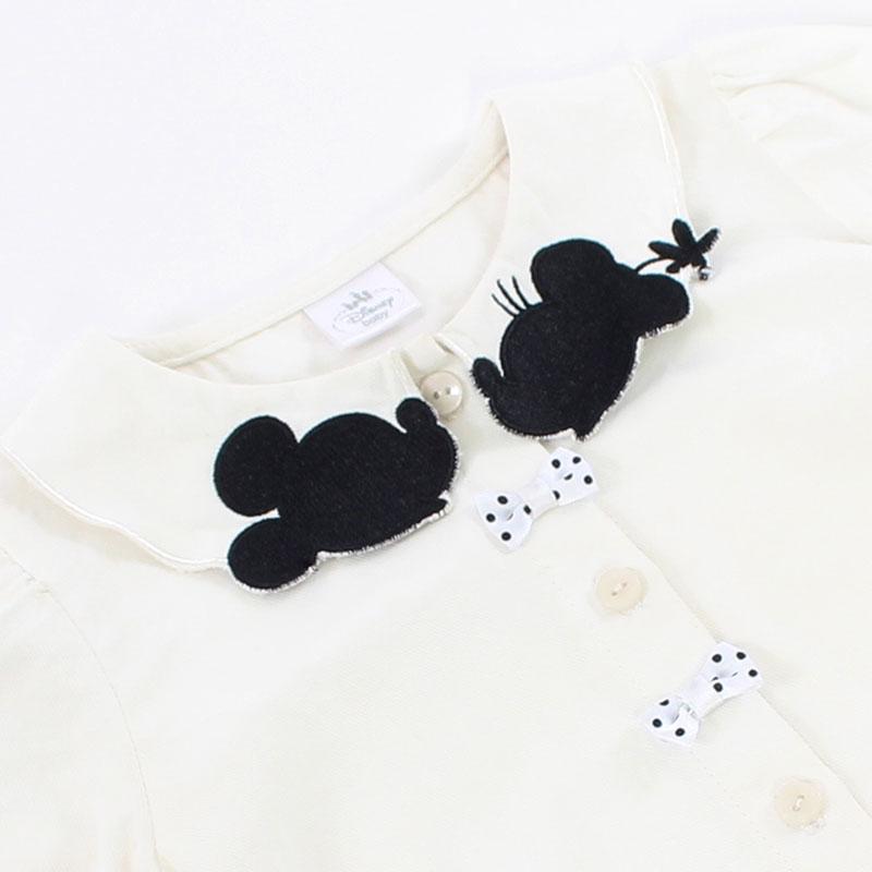 【送料無料】ミッキー&ミニー ドット柄ドレス&衿刺繍ブラウス(80)