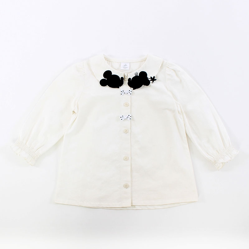 ミッキー&ミニー 衿刺繍ブラウス(100)