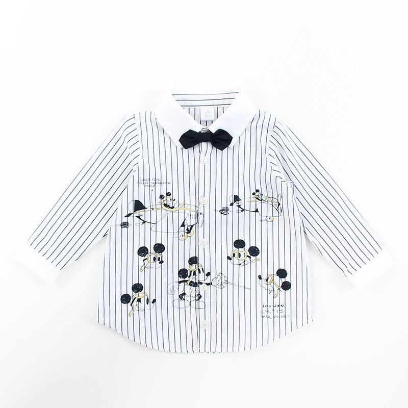 ミッキー プリント 先染めストライプシャツ(90)