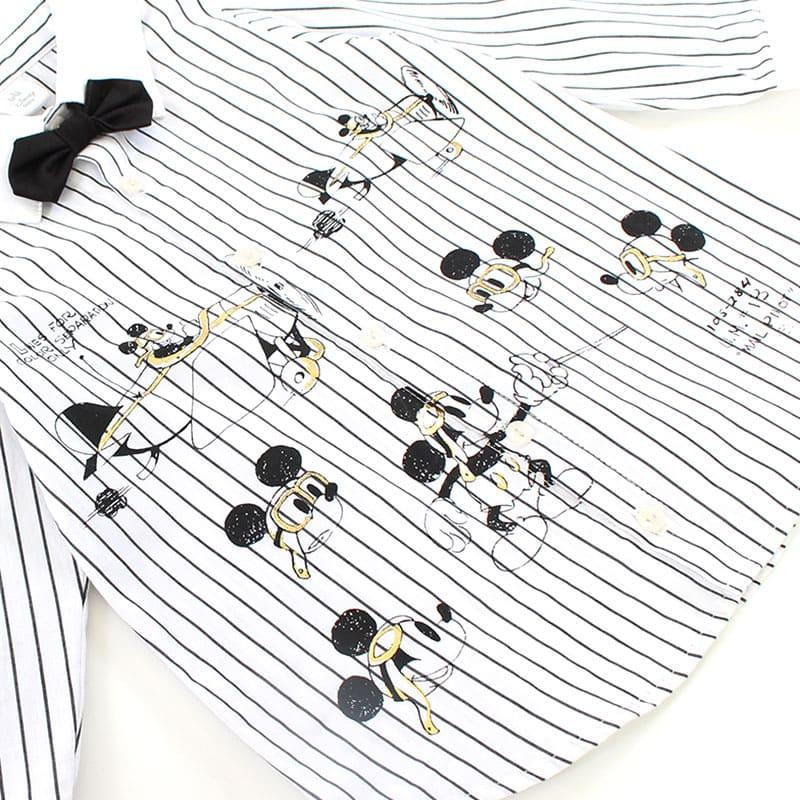 ミッキー プリント 先染めストライプシャツ(100)