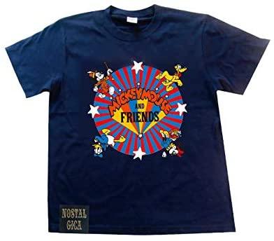 ノスタルジカ Tシャツ ミッキー&フレンズ ロゴ ネイビー L