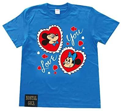 ノスタルジカ Tシャツ ミッキー&ミニー I LOVE YOU ブルー L