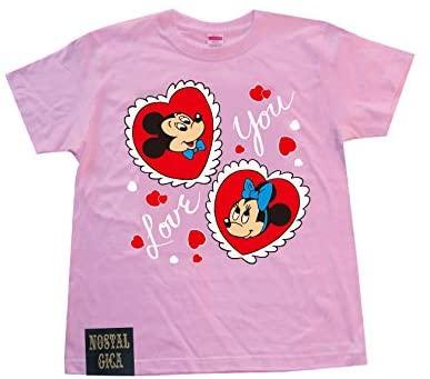 ノスタルジカ Tシャツ ミッキー&ミニー I LOVE YOU ピンク L