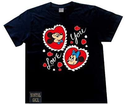 ノスタルジカ Tシャツ ミッキー&ミニー I LOVE YOU ブラック L