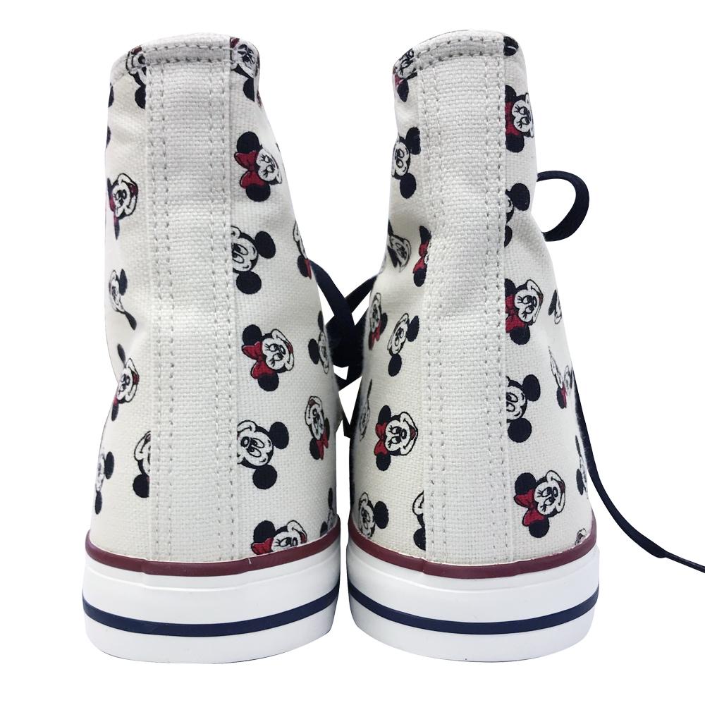 ディズニー ハイカットスニーカー ミッキーミニー/パターン/ホワイト 24-25cm