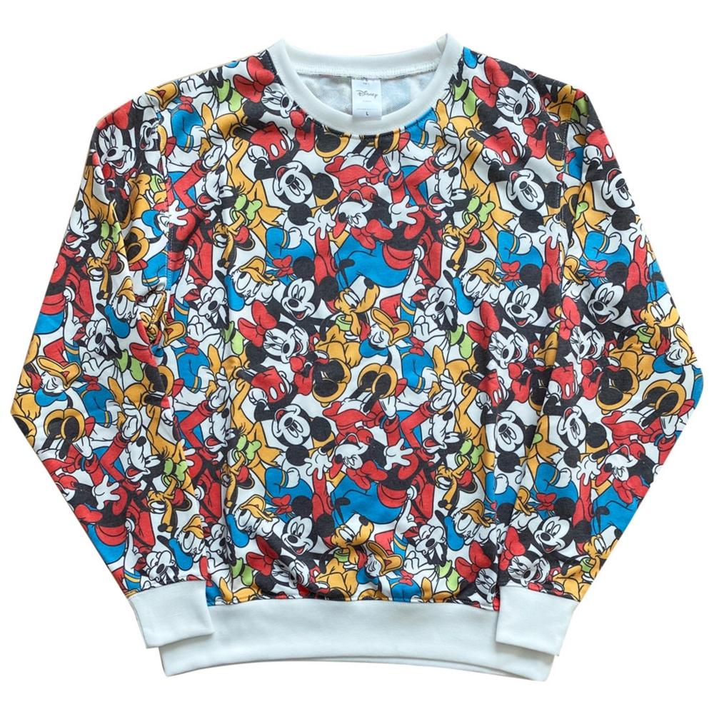 ディズニー クルーネック 総柄スウェットシャツ ミッキーマウス&フレンズ L