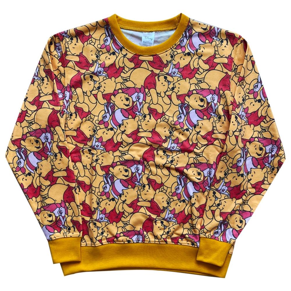 ディズニー クルーネック 総柄スウェットシャツ くまのプーさん XL