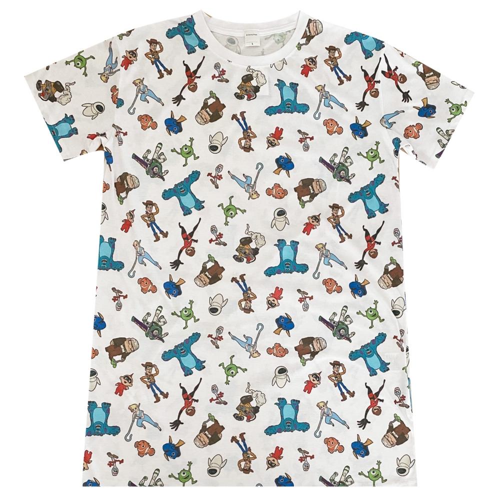 ピクサー パターン 総柄プリント ロングTシャツ