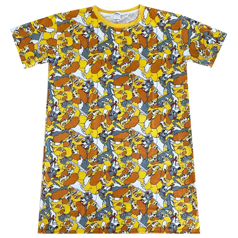 ディズニー わんわん物語 ぎっしり 総柄プリント ロングTシャツ
