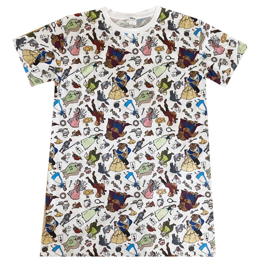 ディズニー 美女と野獣 / オールスター 総柄プリント ロングTシャツ