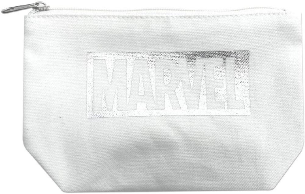 MARVEL マーベル ロゴグッディポーチ (ホワイト×シルバー)