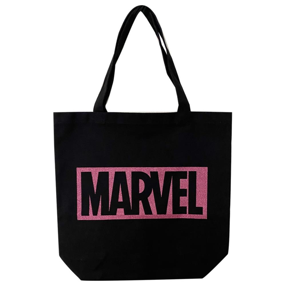 MARVEL マーベル トートバッグ / BLACK・ロゴPINKラメ