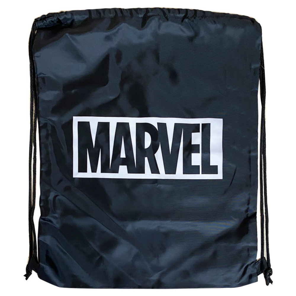 MARVEL マーベル ナップサック / ブラック・ロゴホワイト