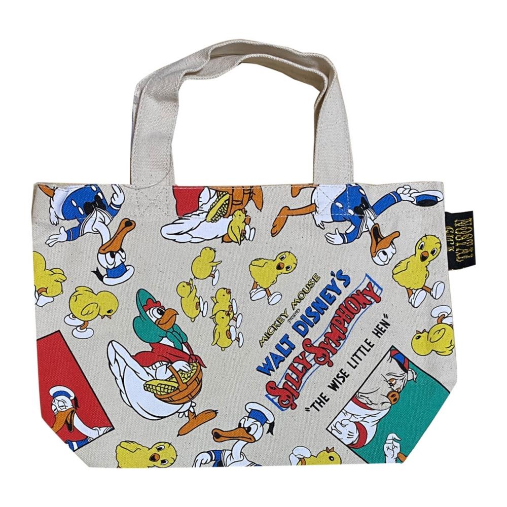 【 Disney 】 ノスタルジカ  コットンランチバッグ ドナルド/かしこいめんどり(総柄)