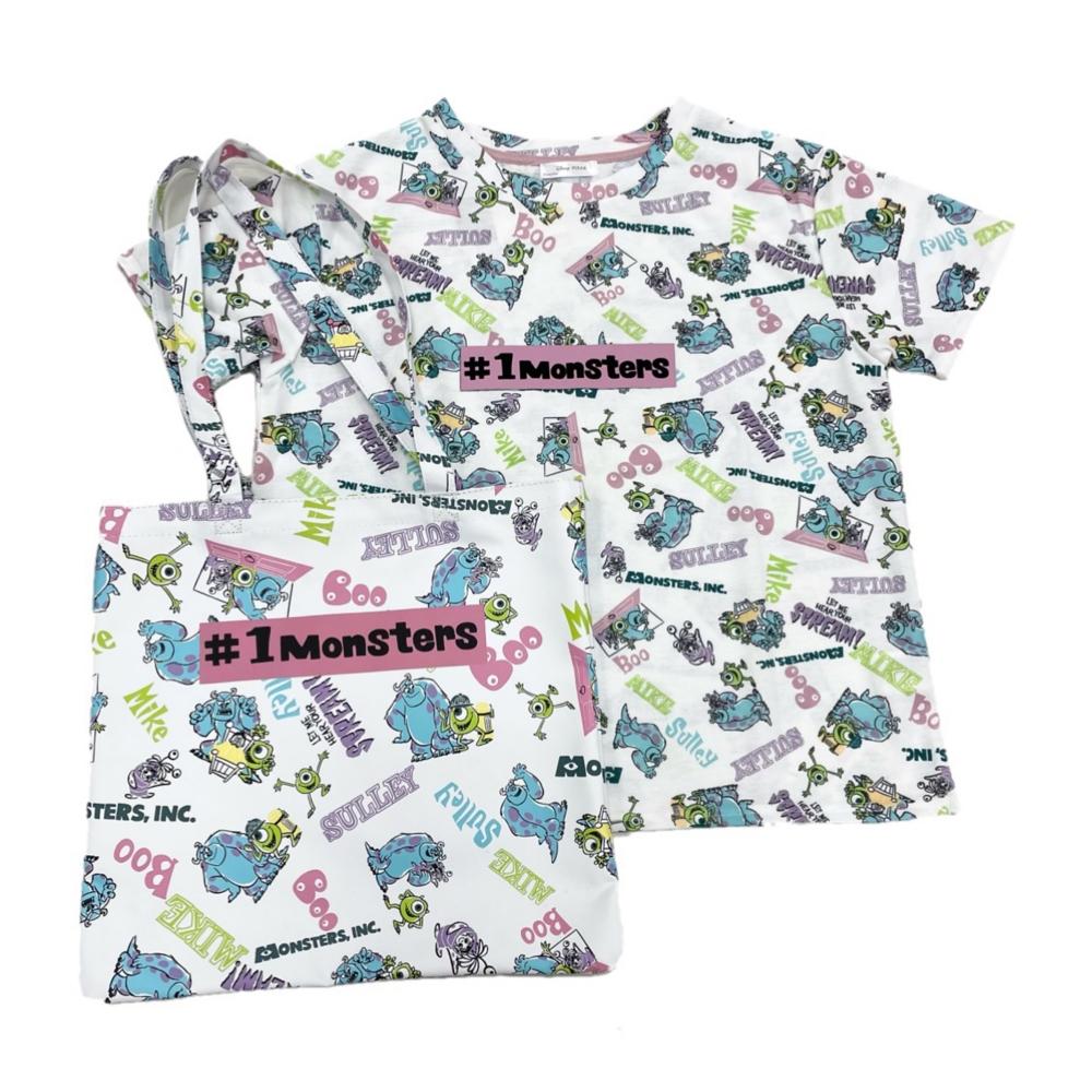 バッグ付き総柄デザインTシャツ『モンスターズ・インク』M White