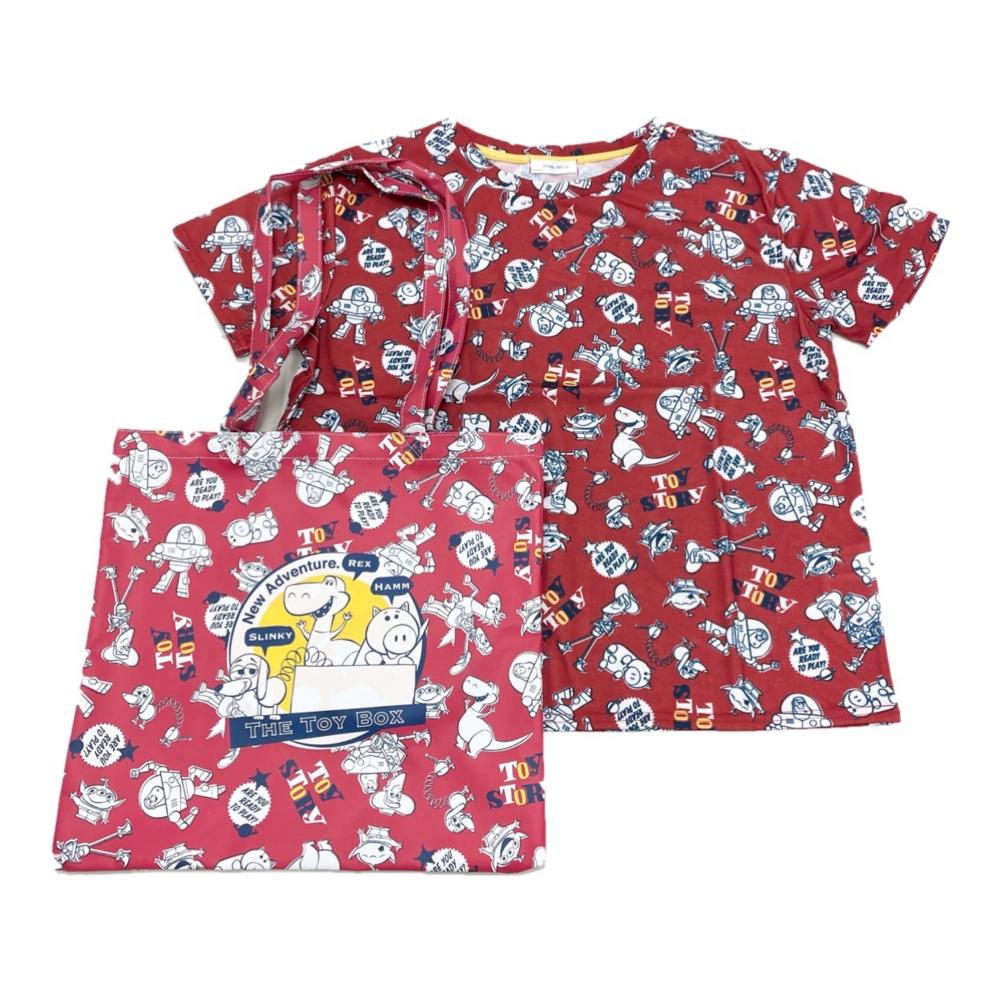バッグ付き総柄デザインTシャツ『TOYSTORY』 M Red
