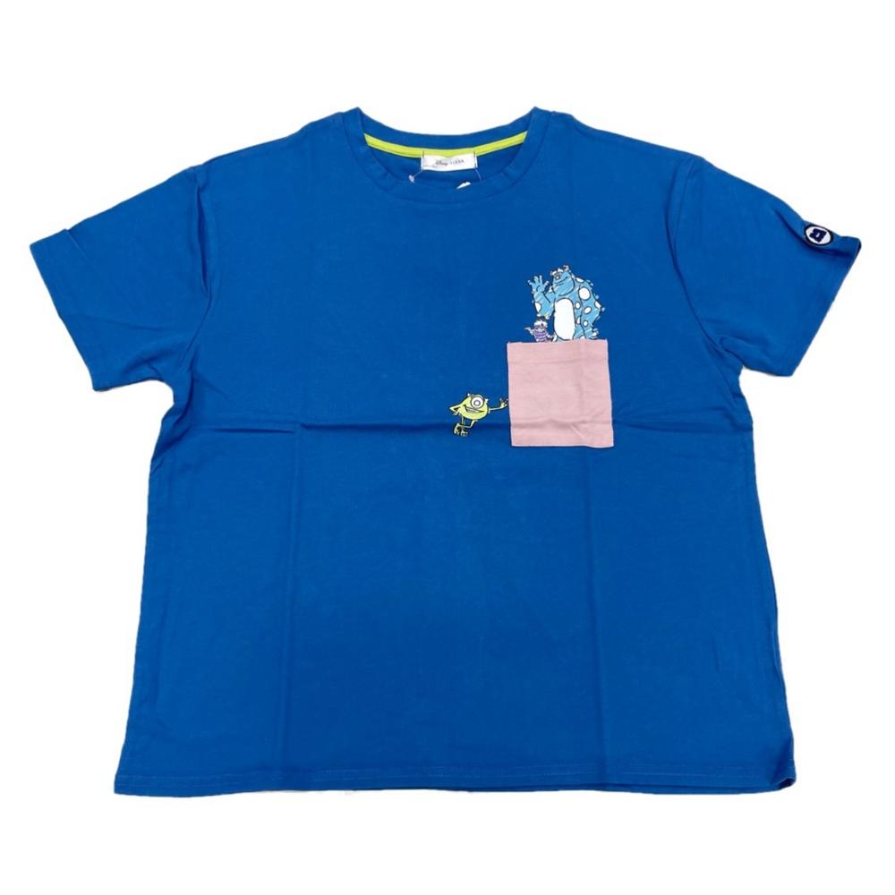 バッグ付きポケット付きTシャツ『モンスターズ・インク』M Blue