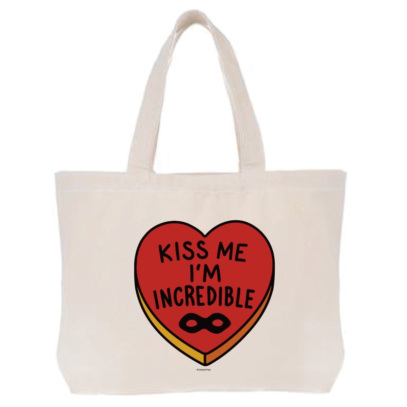 【D-Made】トートバッグ  Mr.インクレディブル ハート KISS ME I'M INCREDIBLE
