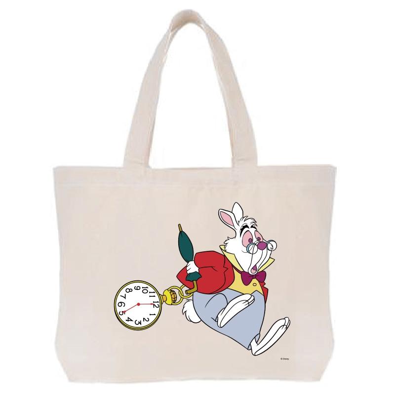 【D-Made】トートバッグ  ふしぎの国のアリス 白うさぎ 時計