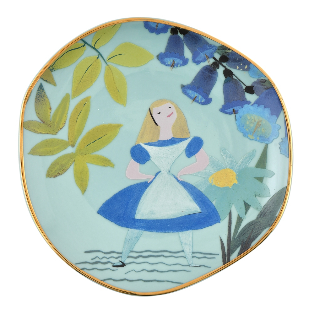 アリス プレート ゴールドライン Alice in Wonderland by Mary Blair