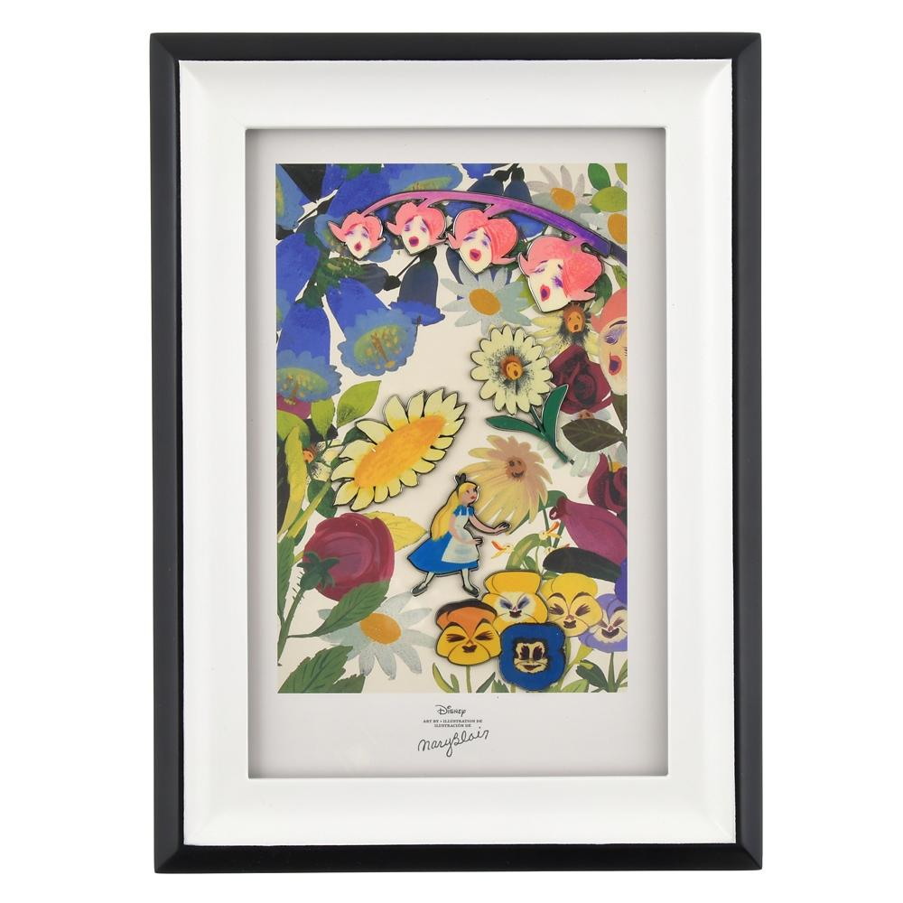 アリス&花たち ピンバッジセット・フレームアート Alice in Wonderland by Mary Blair