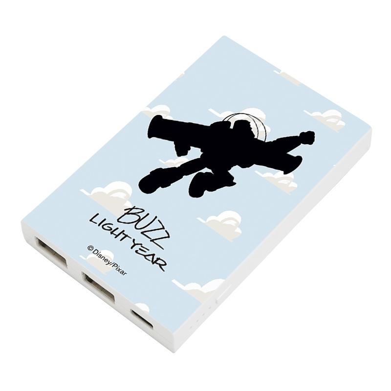 【D-Made】モバイルバッテリーチャージャー 総柄 トイ・ストーリー バズ・ライトイヤー シルエット 雲柄