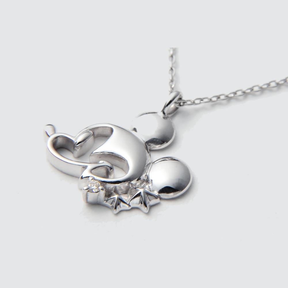 【送料無料】ミッキーマウス ホワイトゴールドペンダント