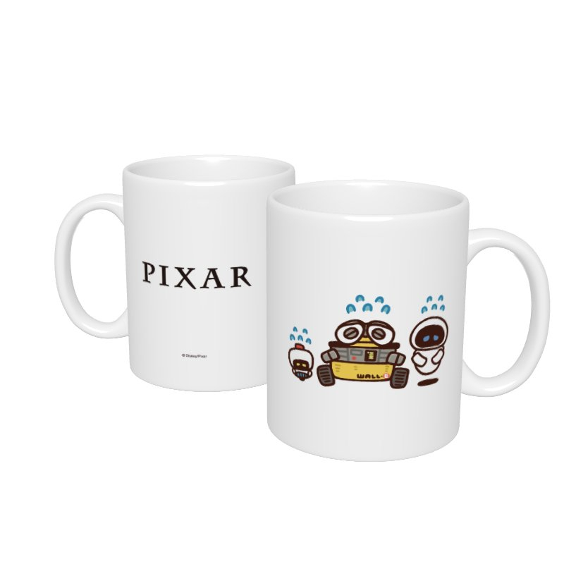 【D-Made】マグカップ  カナヘイ画♪WE LOVE PIXAR ウォーリー&イヴ&モー