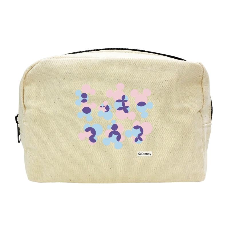 【D-Made】キャンバスポーチ ミッキー アイコンパターン ピンク&ブルー KATAKANA