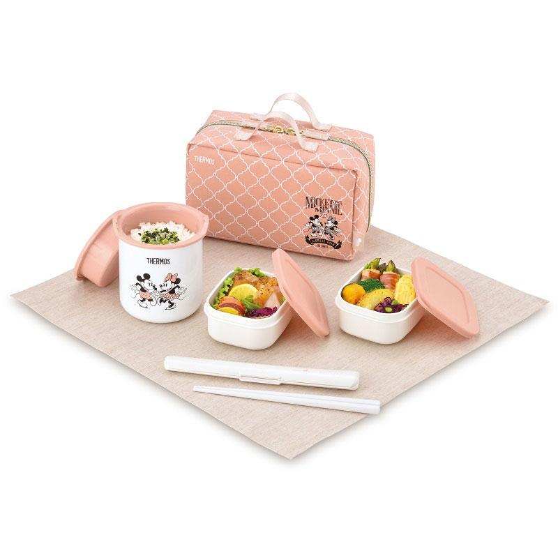【THERMOS(サーモス)】ミッキー&ミニー 保温弁当箱 ベージュピンク