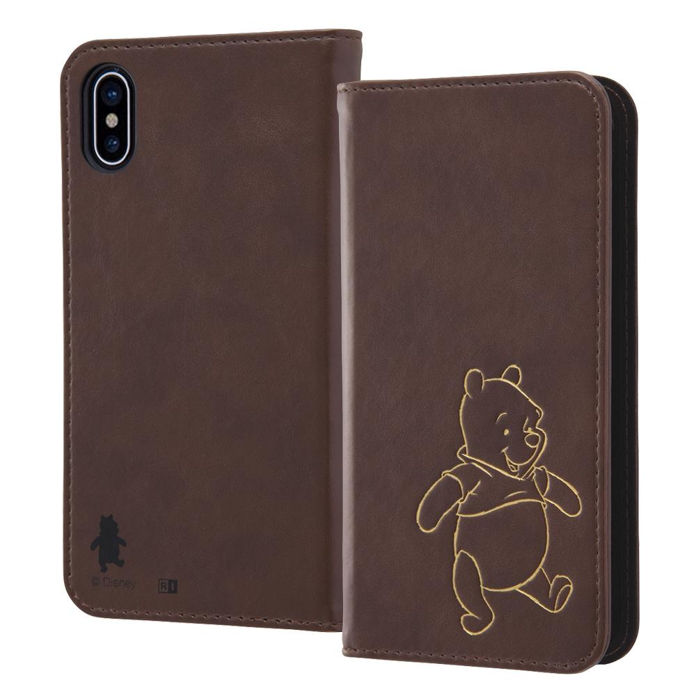 iPhone XS/X ディズニーキャラクター/手帳型ケース ホットスタンプ ワンポイント/プー