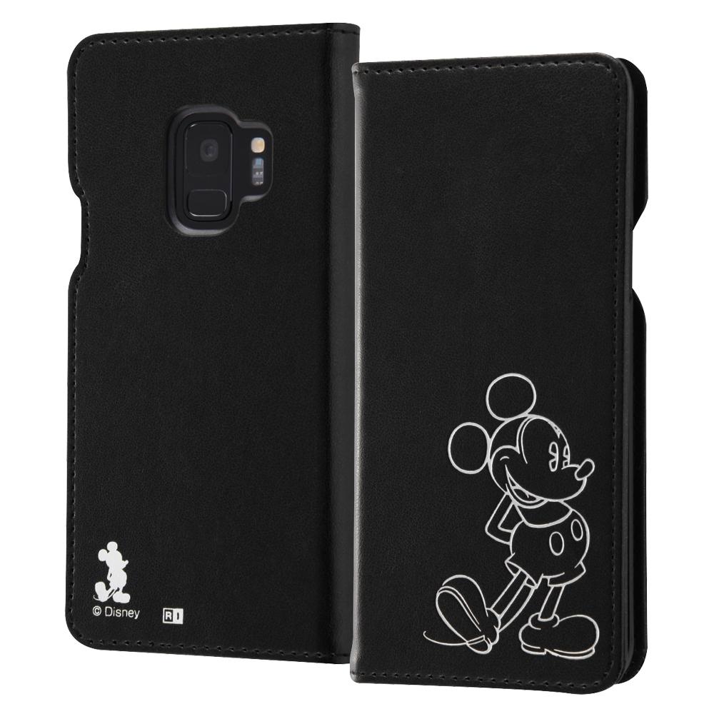 Galaxy S9 『ディズニーキャラクター』/手帳型ケース ホットスタンプ ワンポイント/ミッキー