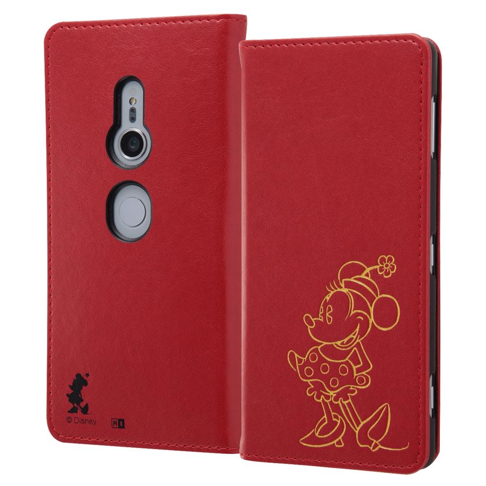 Xperia XZ2 『ディズニーキャラクター』/手帳型ケース ホットスタンプ ワンポイント/ミニー