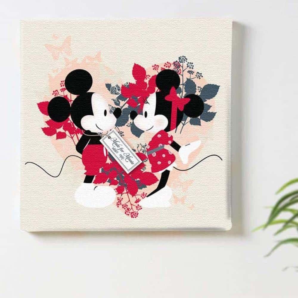 【ファブリックパネル】ミッキーマウス&ミニーマウス パピヨン 【dsn-0060】