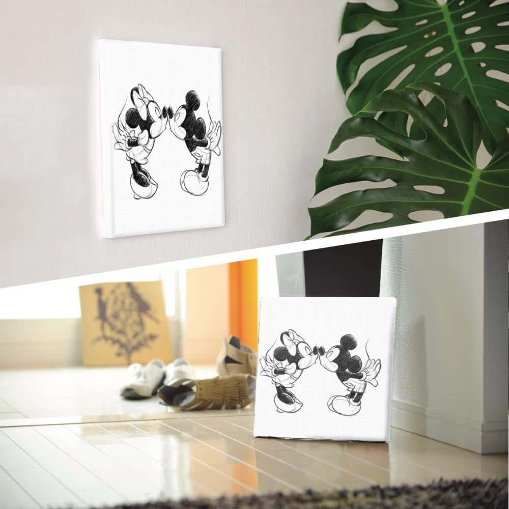 【ファブリックパネル】ミッキーマウス&ミニーマウス キス 【dsn-0152】