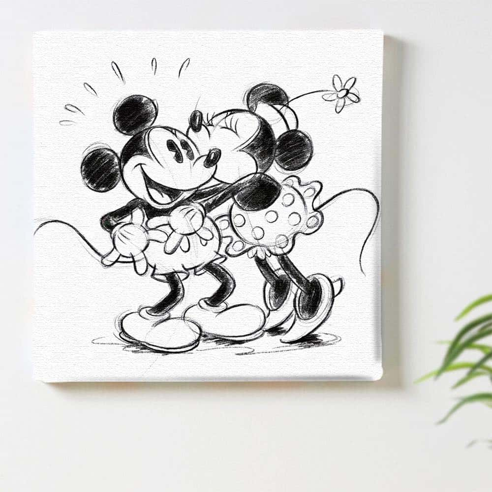 【ファブリックパネル】ミッキーマウス&ミニーマウス ハグ 【dsn-0152】